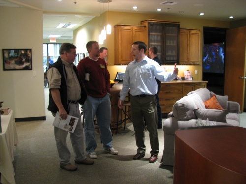 Tracy Hankins and Jeff Hankins check out the Genesis Showroom.